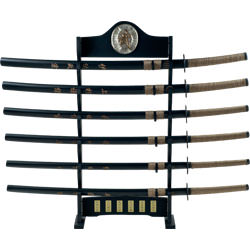 Historic Whetstone Samurai Katana Super Set of 6 with Display
