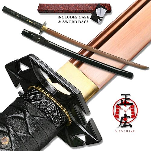"Masahiro - Red Anodized Carbon Steel Katana 41"" Sword, case and bag"