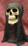 Blackened Steel Chain Mail Coif 16 gauge