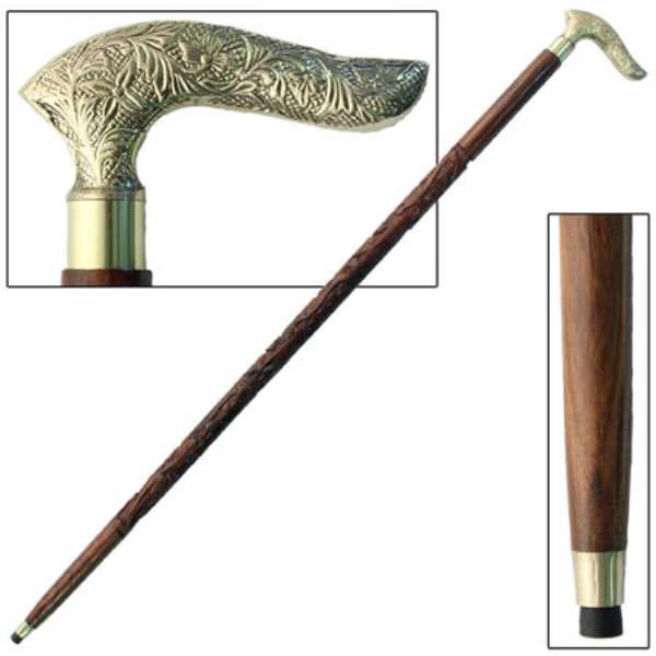 37 in Hand Carved Fancy Hardwood Walking Cane IN10103