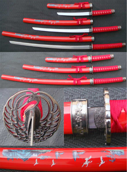 3pc Kissing Crane Sword Set SW808RD3