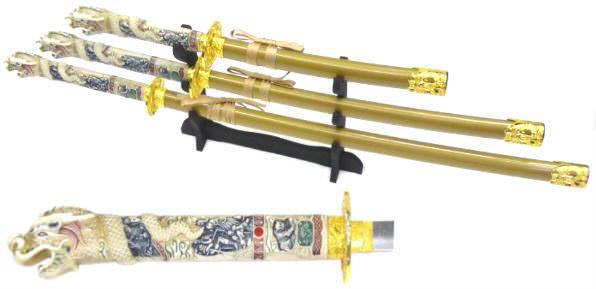3pc Open Mouth Immortals Sword Set K3003-4GD