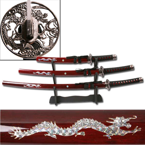 3pc Red Dragon Set Samurai Sword set JS697R
