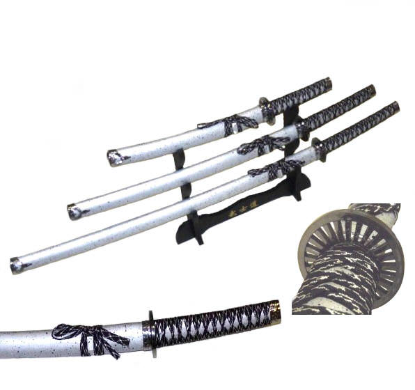3pc Set Silver Samurai Sword Set C29152-S4
