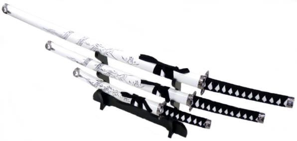 3pc White Dragon Samurai Sword Set K0016-4WT