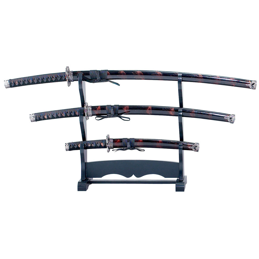 3pcs Samurai Sword Set Black & Burgundy