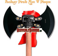 Fantasy Pirate Axe Double Blade With Cross Bone Skull Plaque 17 1/2&quot;