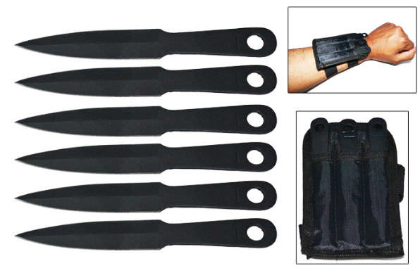 6pc Throwing Knife Set & Wrist Sheath TK185-6BK