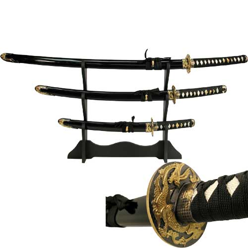 Black Dragon Bushido Samurai Katana Sword Set