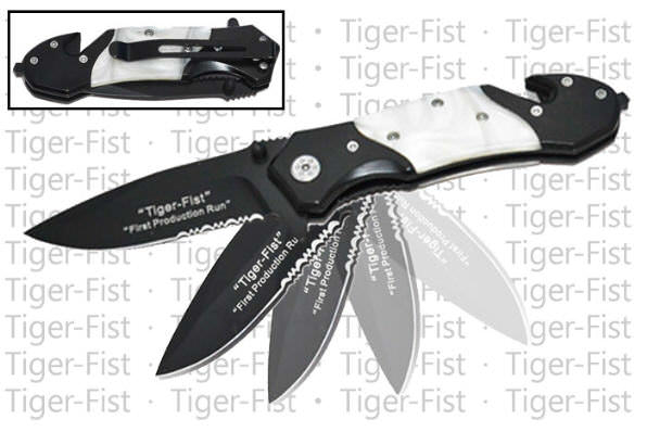 AO White Pearl Tiger Fist Rescue Knife G10 hand RS911B