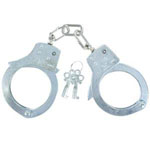 Azan Heavy Duty Silver Zinc Alloy Handcuffs