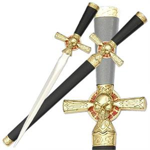 Pirate Skull Cross Dagger Satin Blade 16 1/2""