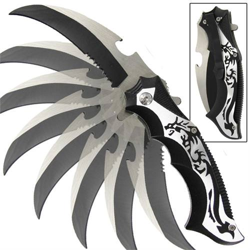 Sun Tzu Dragon Karambit Spring Assisted Knife 8 1/4&quot;