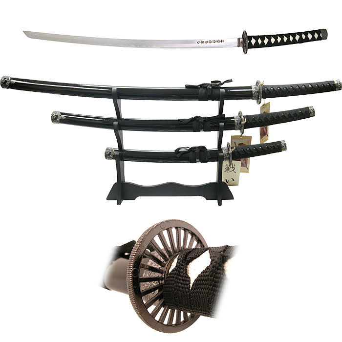 Black Belt Samurai 3 pc Sword Set
