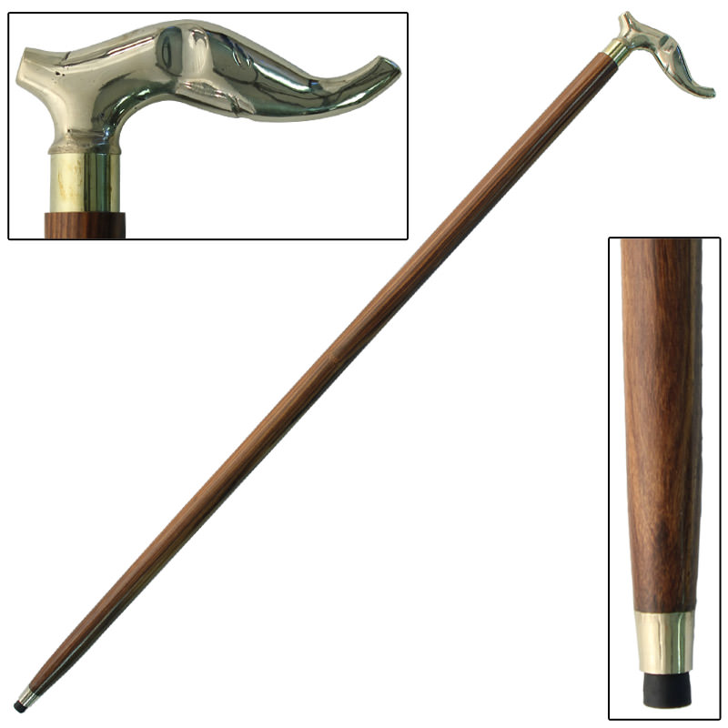 Brass Elephant Head Sheesham Grip Cane 