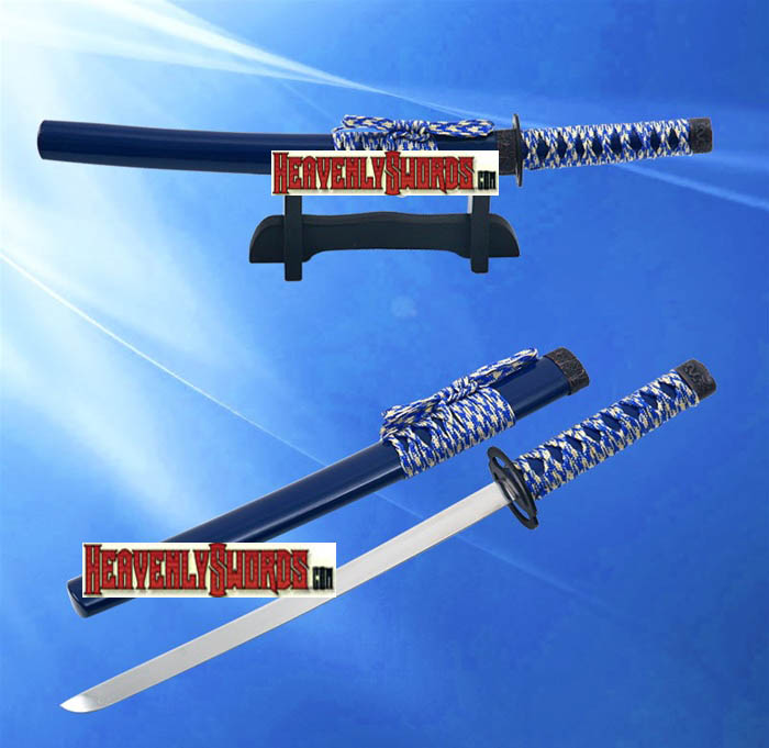 Musashi Blue Warrior Samurai Katana Sword Letter Opener With Stand 12""