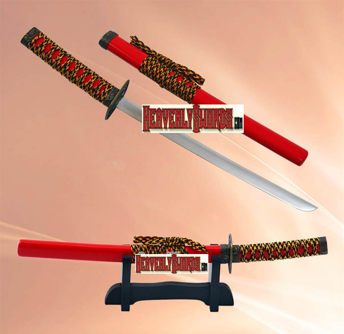Red Ocean Samurai Katana Sword Letter Opener with Stand 12""