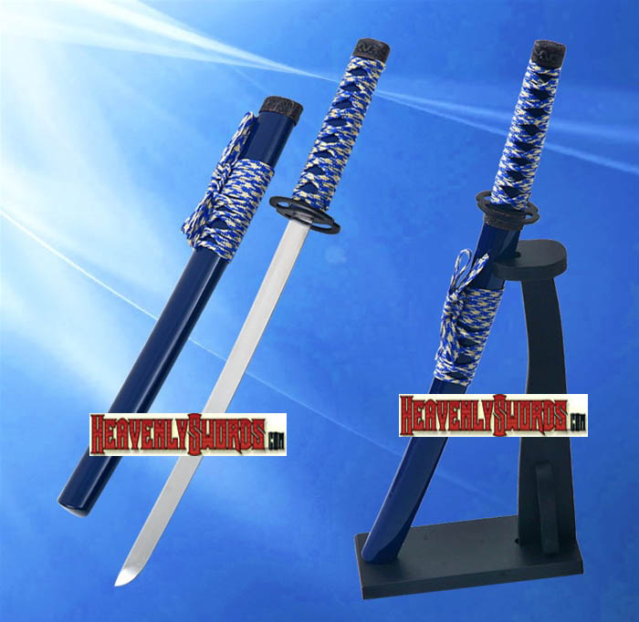 Blue Musashi Warrior Samurai Katana Sword Letter Opener With Stand 12""