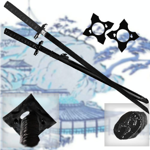 Black Ninja Warrior Sword & Stars 39""