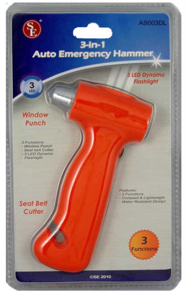 Emergency Rescue Hammer/ Flashlight/ Seatbelt Cutter AS003DL