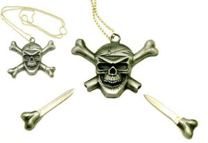 Pirate Skull & Crossbone Neck Knife necklace