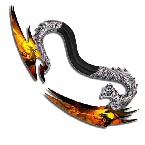 Silver Metal Dragon Handle Double Bladed Fantasy Dagger