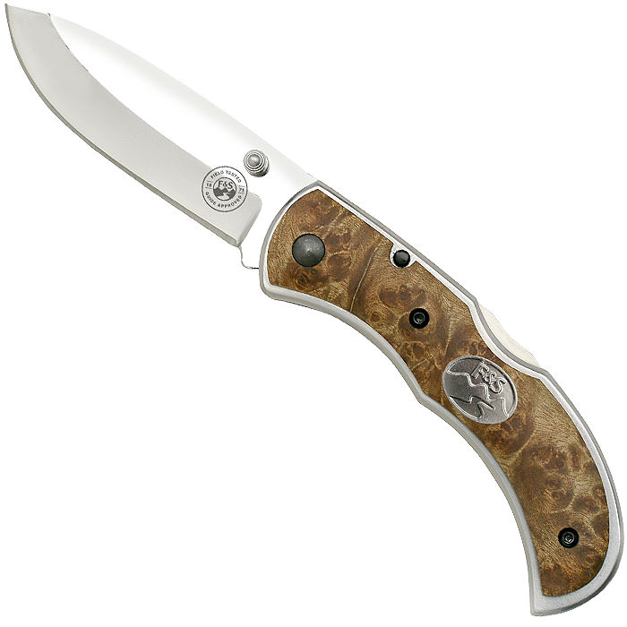 Field & Stream 7 Inch Maple Burl Wood Folding Knife