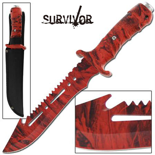 Ultimate Extractor Bowie Survival Red Camo Knife 12 1/2""
