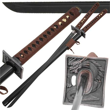 Japanese Black Knight Dragon Warrior 1045 Carbon Steel Katana 42&quot;