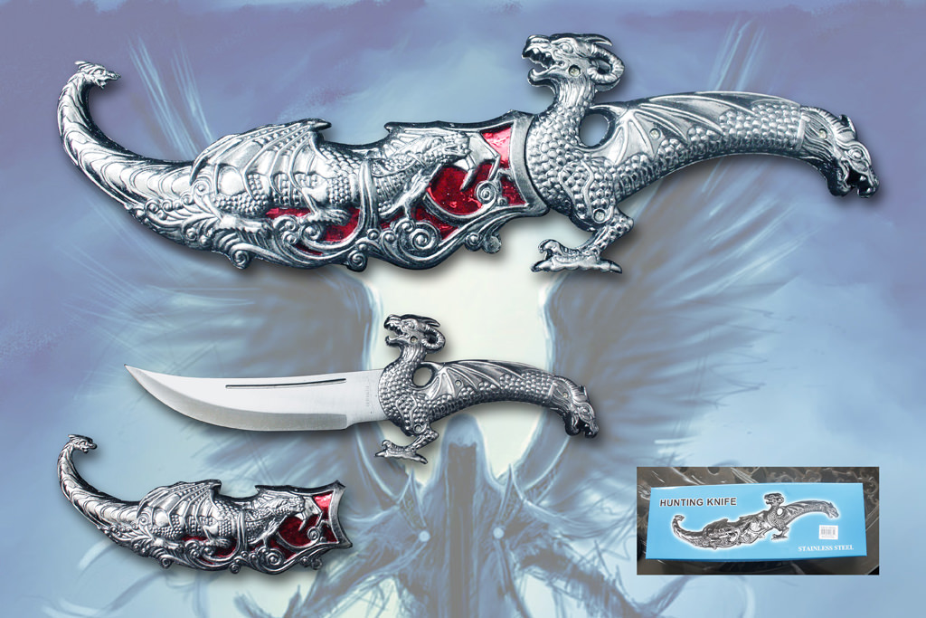 Red Dragon Dagger Knife 15""
