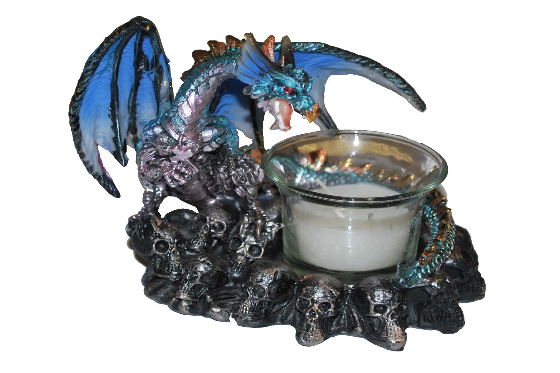 Dragon on a Mountain of Skulls, with Candle Holder