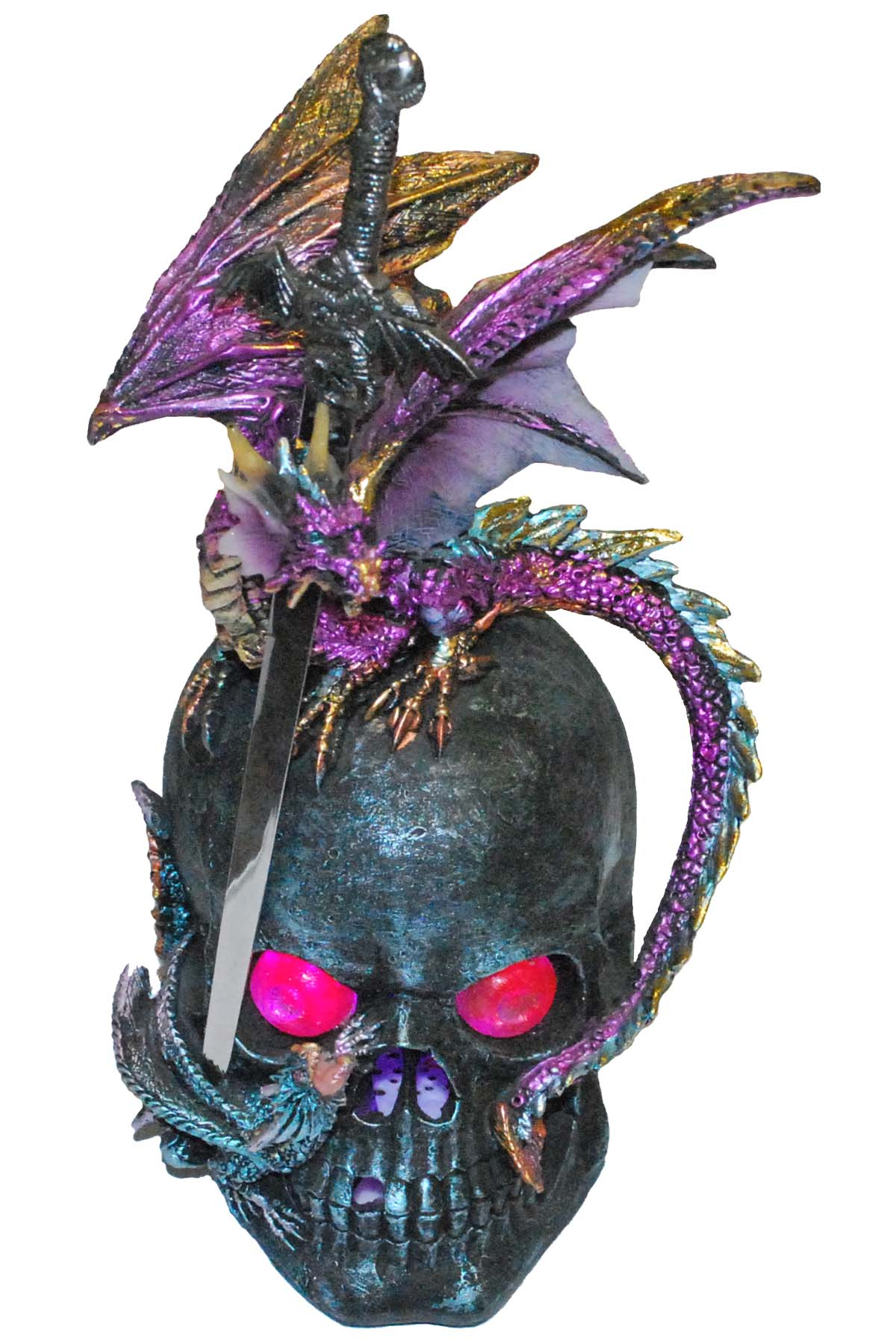 Purple Dragon perached on a Silver Skull, letter opener 10""
