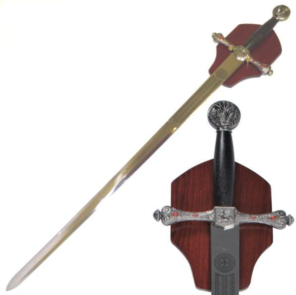 Medieval Jeweled Long Sword & Plaque 44 1/2""