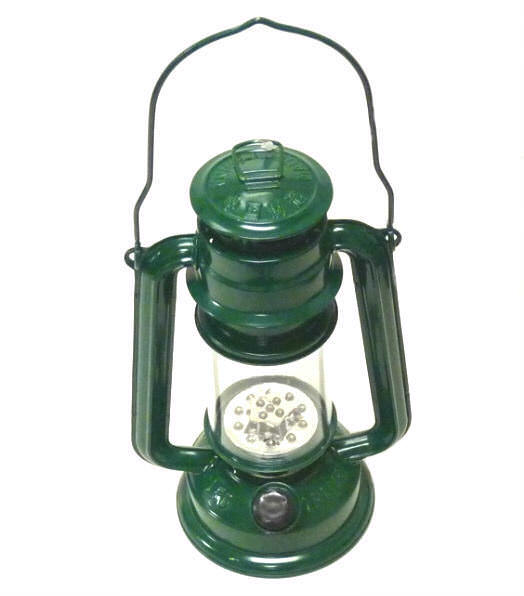 LED Green Hurricane Lantern 15 Bulb FL805-15G