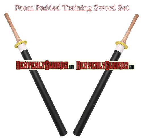 Black Pair of Foam Padded Training Swords Shinai Bokken 35 1/2""