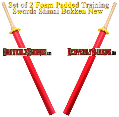 Set of 2 Foam Padded Training Swords Shinai Bokken 35 1/2""