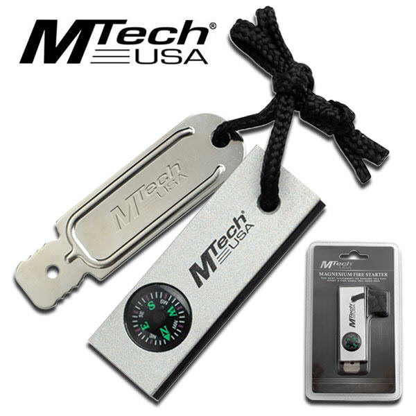 M-Tech Magnesium Fire Starter with Compass MT300