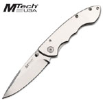 MTECH MIRROR FINISH HANDLE & BLADE KNIFE WITH CLIP