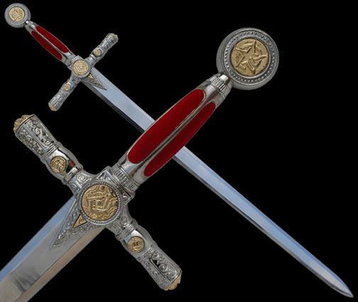 Masonic Red & Silver Sword EW1164SRD