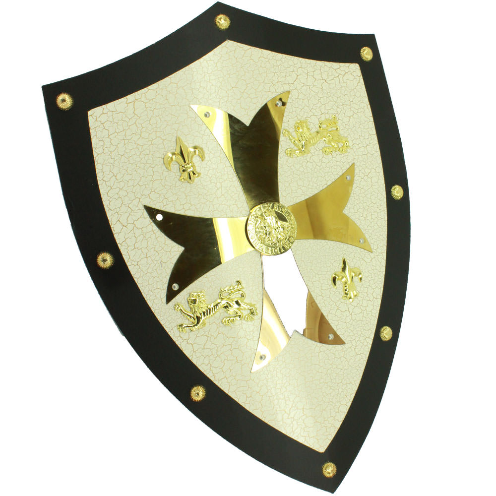 Medieval Royal Knight Crusader Shield /w Gold Cross