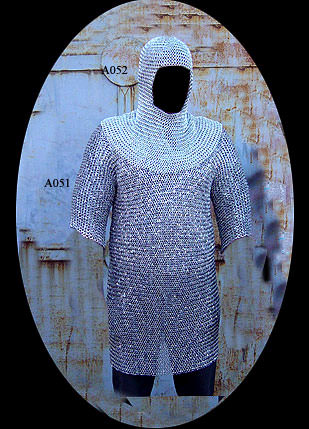 Chain Mail Hauberk Shirt With Head Coif Knight Armor SCA