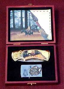 Native Warrior Collector Box with Knife & Lighter 8""