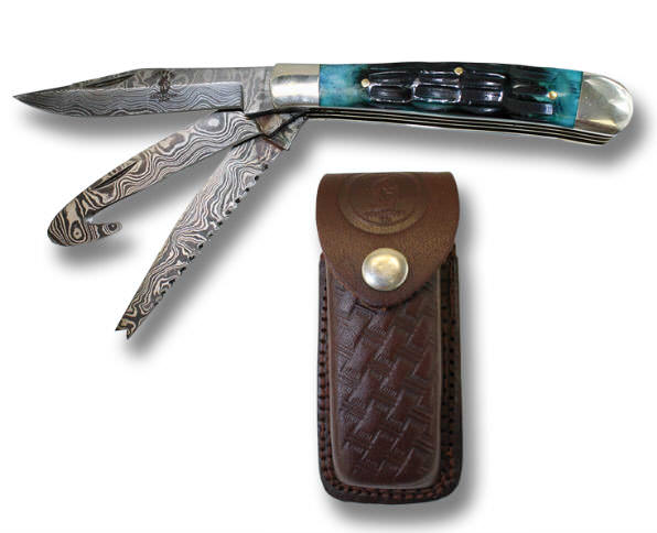 Real DAMASCUS 3 Blade Pocket Knife BC827-3BLD