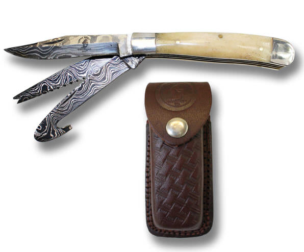 Real DAMASCUS 3 Blade Pocket Knife BC827-3WHDB