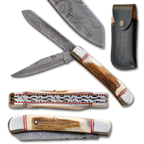 Real DAMASCUS Pocket Knife PR6091