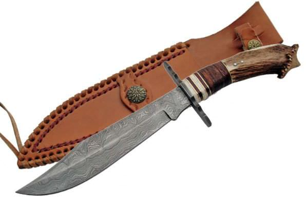 Real DAMASCUS Steel Hunting Knife DM1042