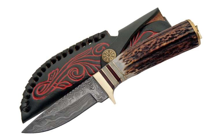 Real DAMASCUS Steel Hunting Knife DM1046