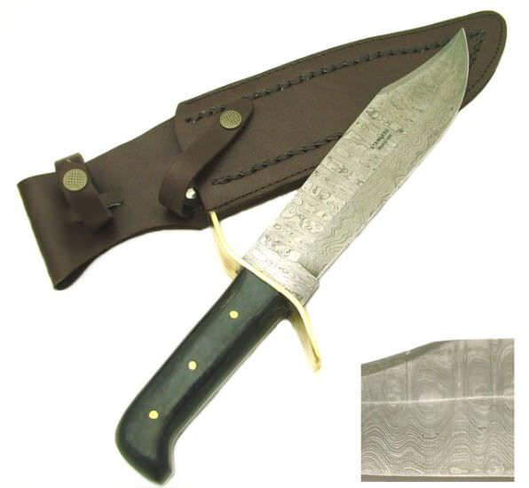 Real DAMASCUS steel Bowie Hunting Knife PK022