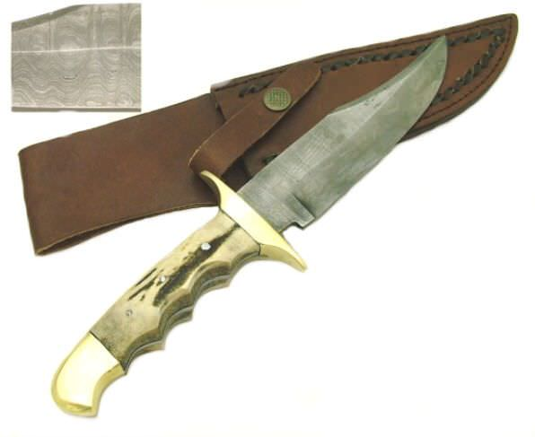Real DAMASCUS steel hunting knife PK006