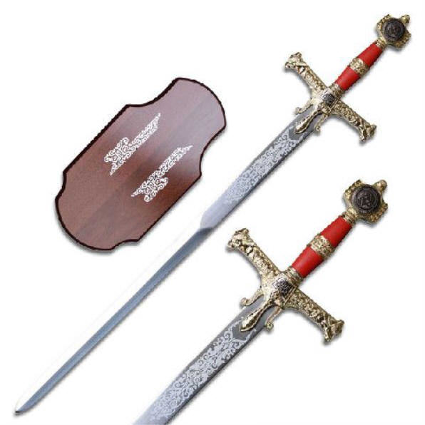 Red & Gold King Solomon Sword & Plaque KS4914RD